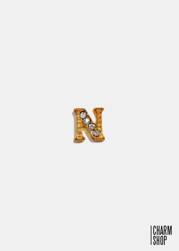 Gold Letter N Locket Charm