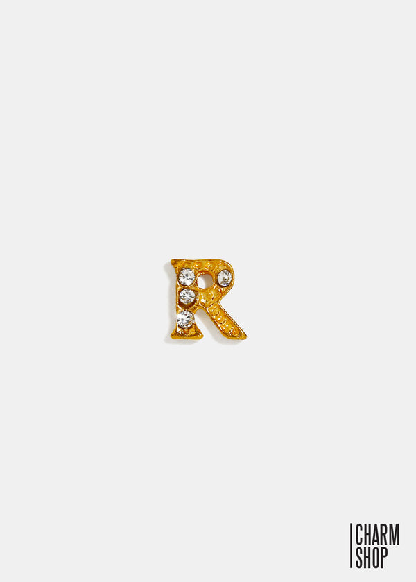 Gold Letter R Locket Charm