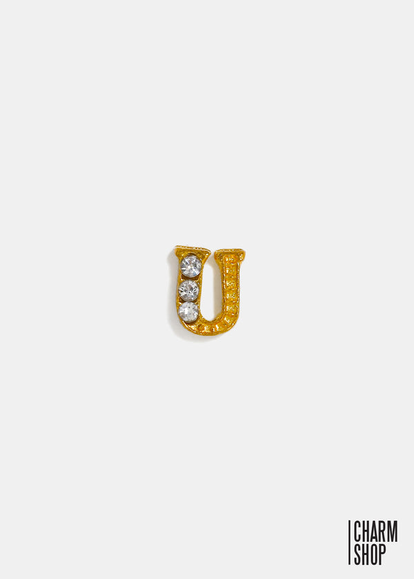Gold Letter U Locket Charm