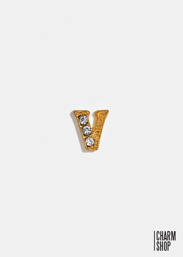 Gold Letter V Locket Charm