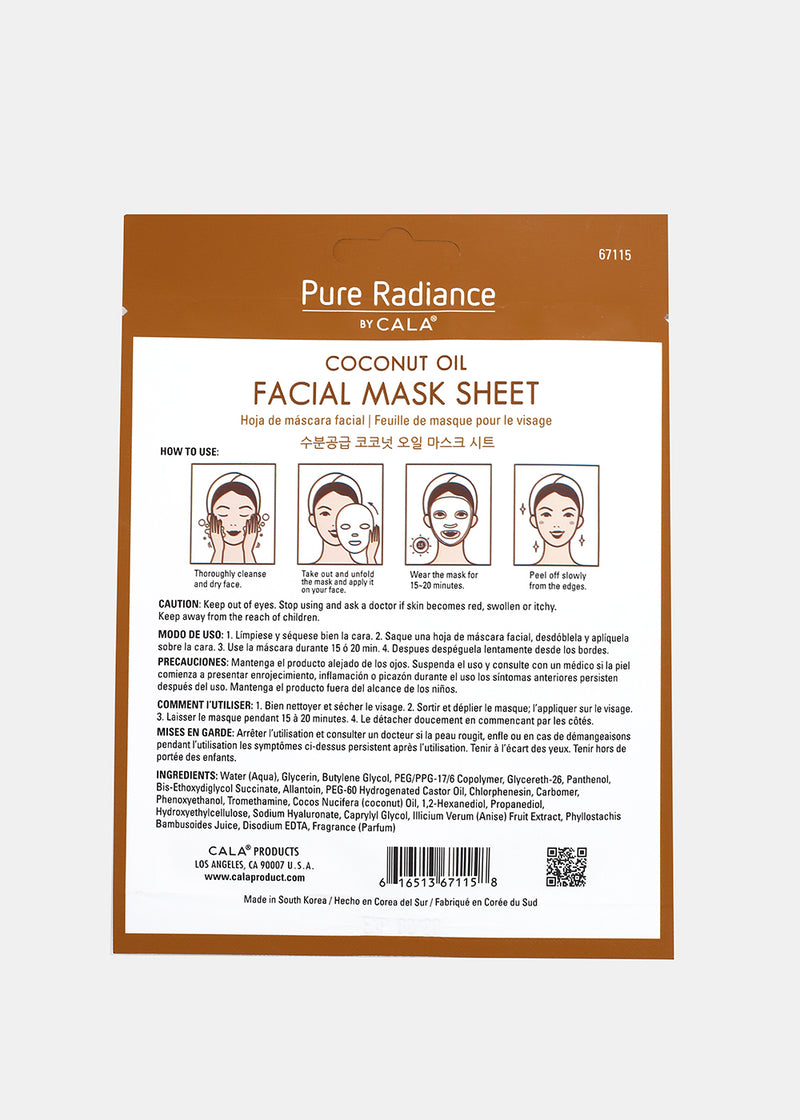 Pure Radiance Sheet Mask- Coconut Oil Facial