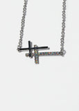 Double Rhinestone & Metal Cross Necklace