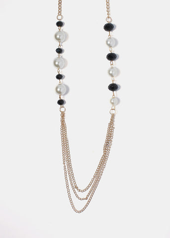 Long Pearl & Bead Chain Necklace