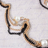 Mix Chain & Multi Pearl Drop Necklace