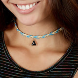 XXChevron Braided Choker with Triangle Charm