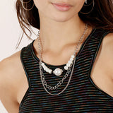 Pearl & Chain Layered Bib Necklace