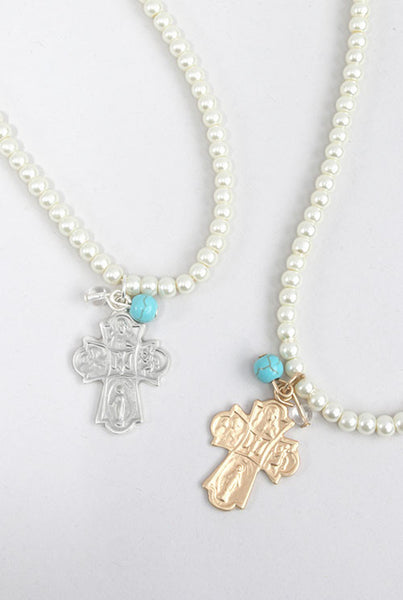 Cross on Pearl Necklace