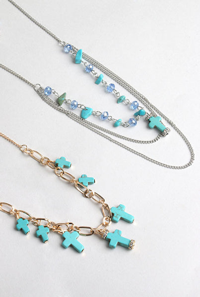 Turquoise Cross Bead Necklace