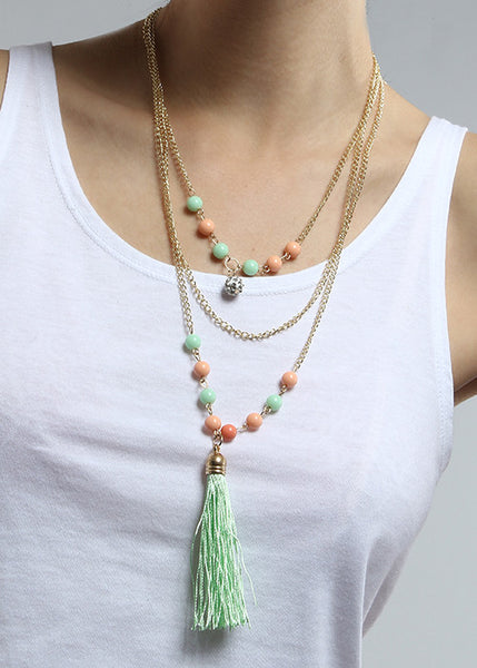 Layered Bead & Tassel Festival Necklace