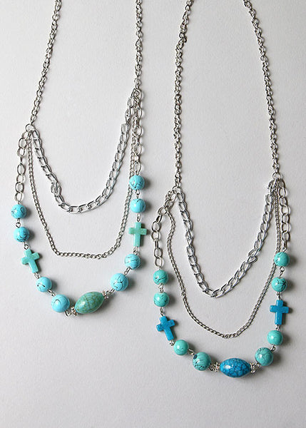 Layered Turquoise Cross Chain Necklace