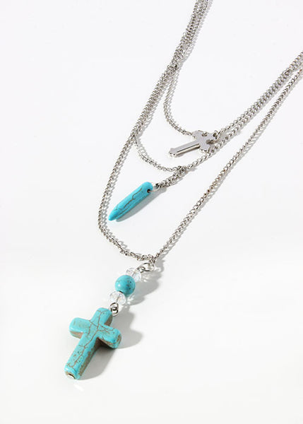 Layered Turquoise & Crosses Chain Necklace