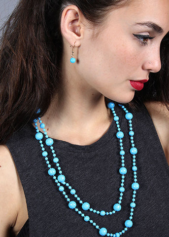Double Beaded Necklace & Earrings Set