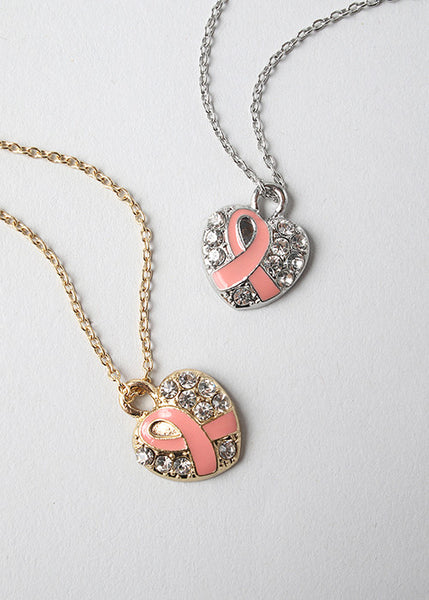Rhinestone Heart & Ribbon Necklace