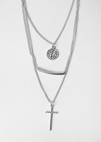 Cross, Bar & Tree Layered Necklace