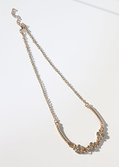 Rhinestone & Bar Chain Necklace