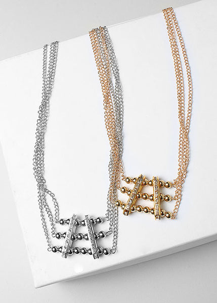 Bead & Rhinestone Layered Chain Necklace