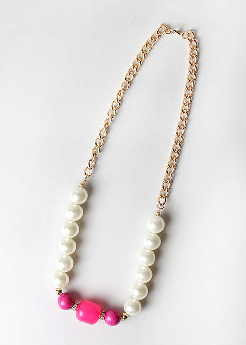 Pearl & Stone Chain Link Necklace