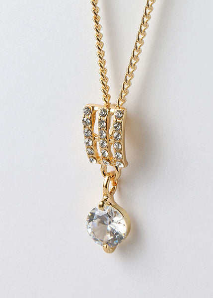 Three Rhinestone Bar Pendant Necklace