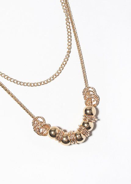 Metal Ball Double Chain Necklace