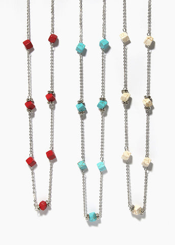 Cubed Stone Chain Necklace