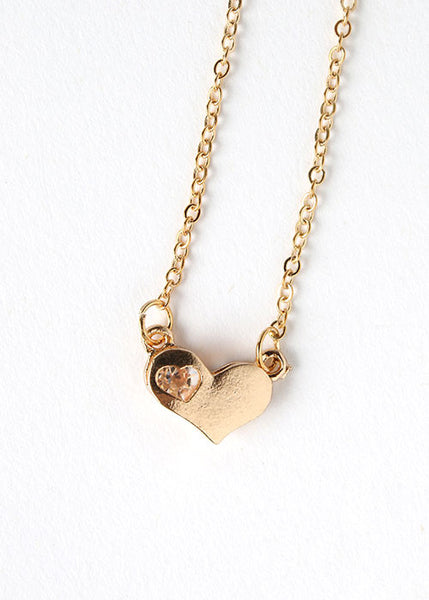 Gem Heart Chain Necklace