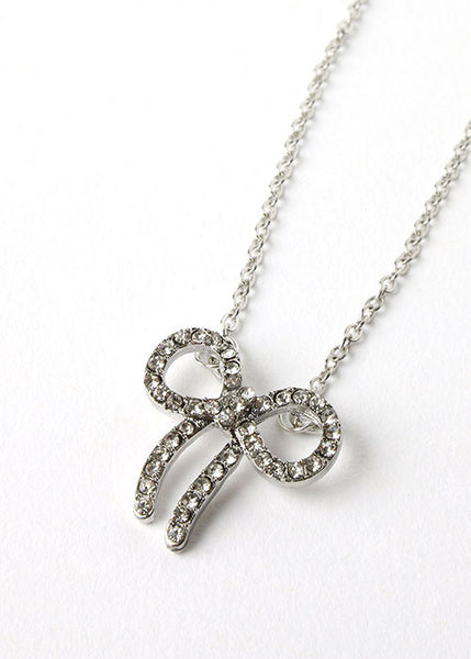 Rhinestone Bow Chain Necklace