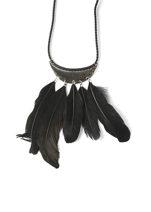 Feather Crescent Necklace