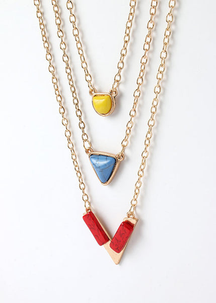 Colored Stone Layered Chain Necklace