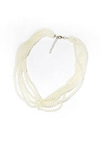 White Pearl Layered Necklace