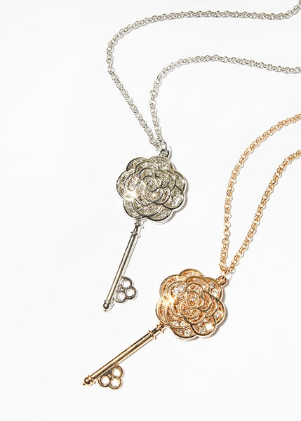 Flower Key Pendant Necklace