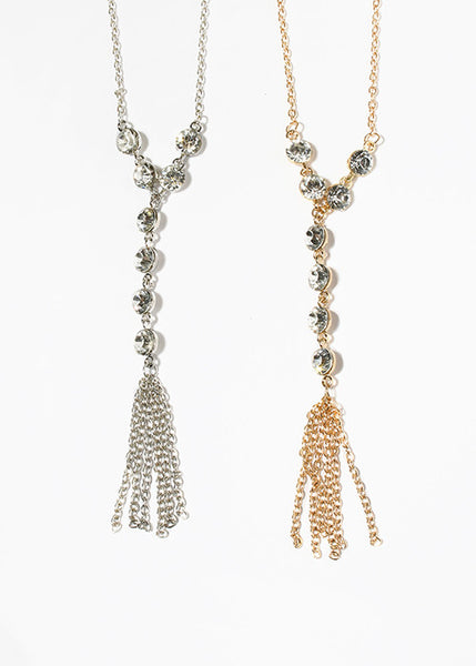 Rhinestone Y-Chain Tassel Necklace