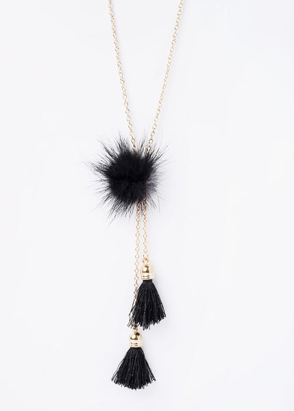 Pom-Pom & Tassel Chain Necklace