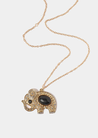 Oval Stone Elephant Pendant Necklace
