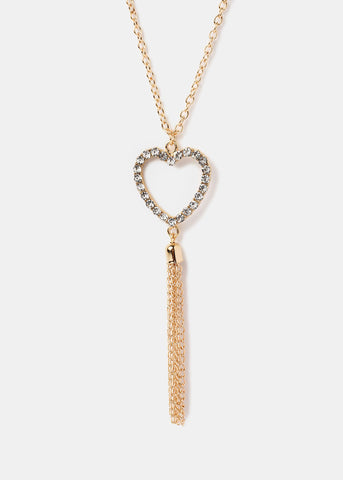 Rhinestone Heart Tassel Necklace
