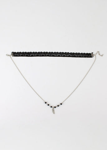 Lace & Chain Feather Choker