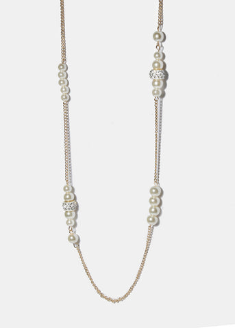 Rhinestone Bead & Pearl Chain Necklace