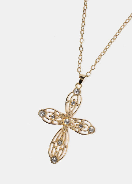Rhinestone Accented Cross Pendant Necklace