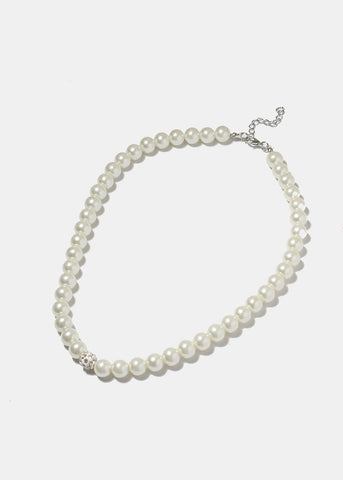Rhinestone Studded Ball Pearl Necklace