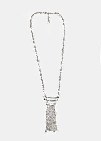 Stacked Bar & Chain Fringe Necklace