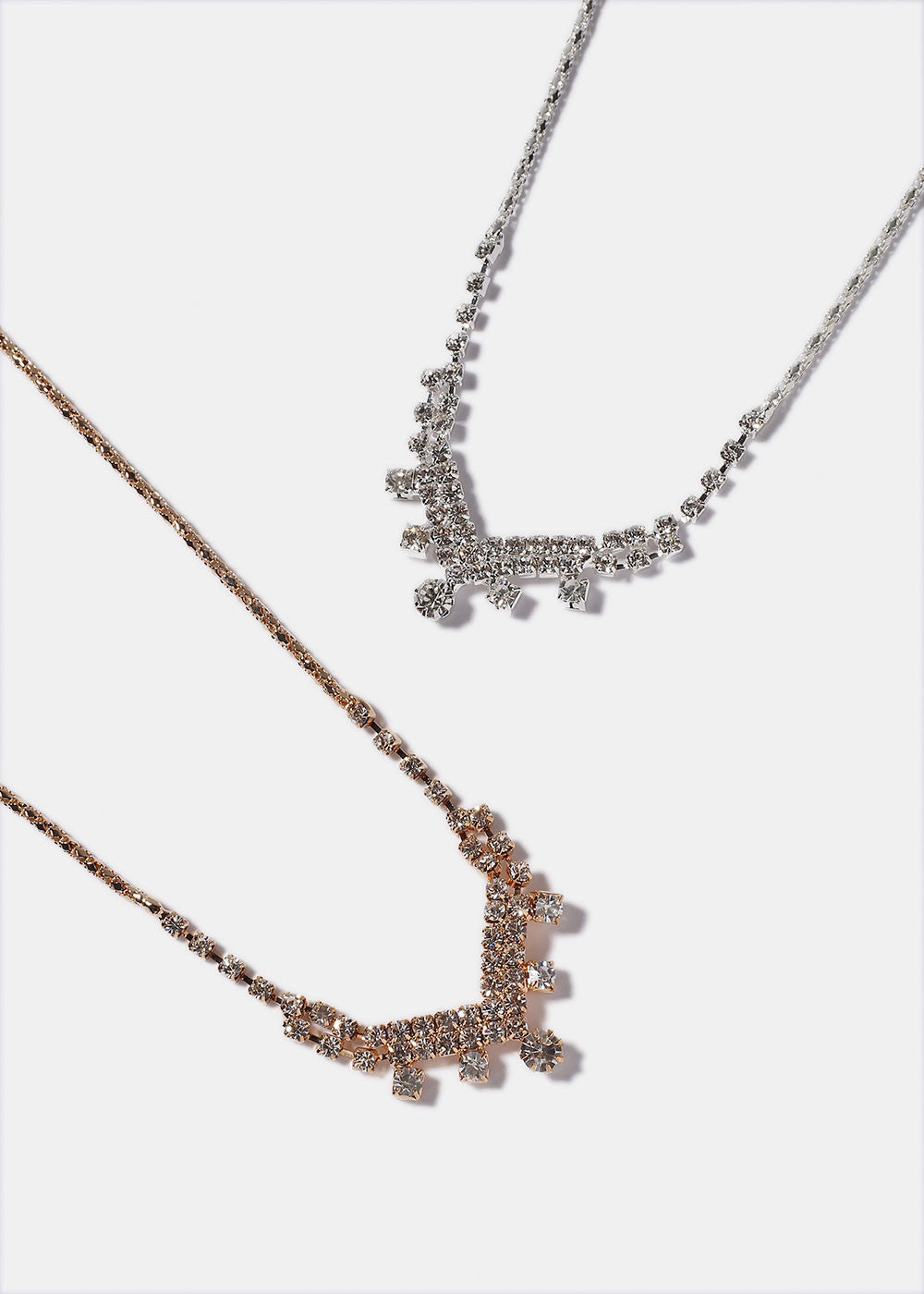 Sparkling Rhinestone V Necklace