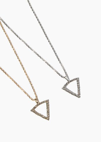 Rhinestone Triangle Pendant Necklace