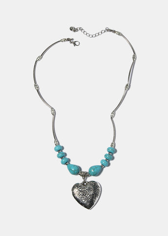 Turquoise Stone Heart Pendant Necklace