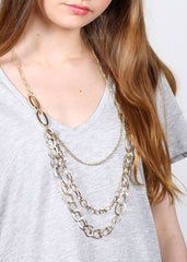 Long Layered Chain Link Necklace