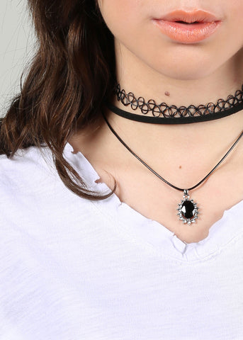 2 Piece Tattoo & Gemstone Pendant Choker Set