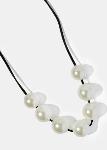 Large Pearl Suede Necklace