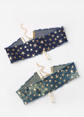 Star Denim Gemstone Pendant Choker