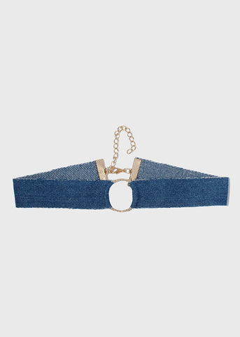 Metal Ring Denim Choker