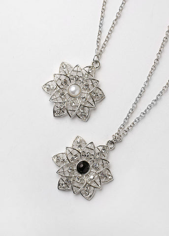 Long Chain Flower Pendant Necklace