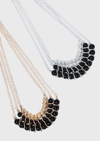 Layered Chain Pearl Statement Necklace