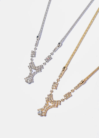 Rhinestone Y-Line Necklace